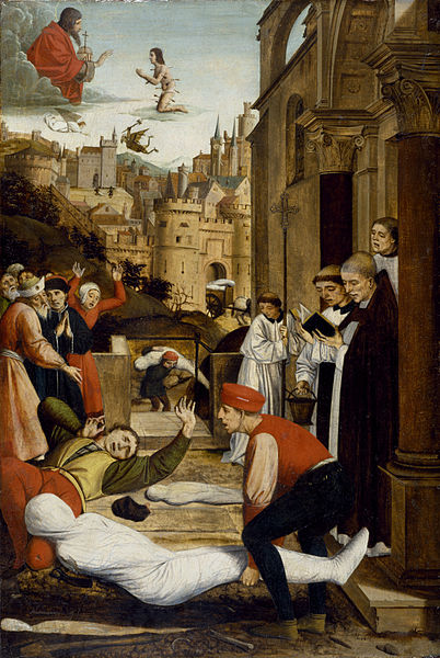 402px-Josse_Lieferinxe_-_Saint_Sebastian_Interceding_for_the_Plague_Stricken_-_Walters_371995