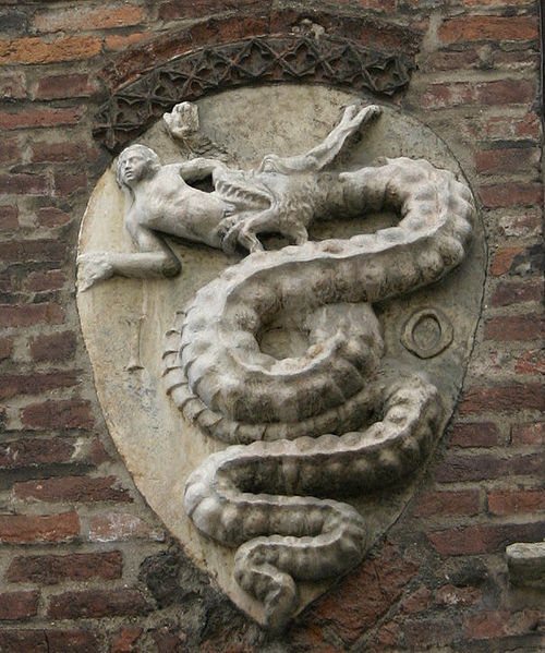 Coat of arms of the House of Visconti, on the Arch-bishops' palace in Piazza Duomo, in Milan, Italy.